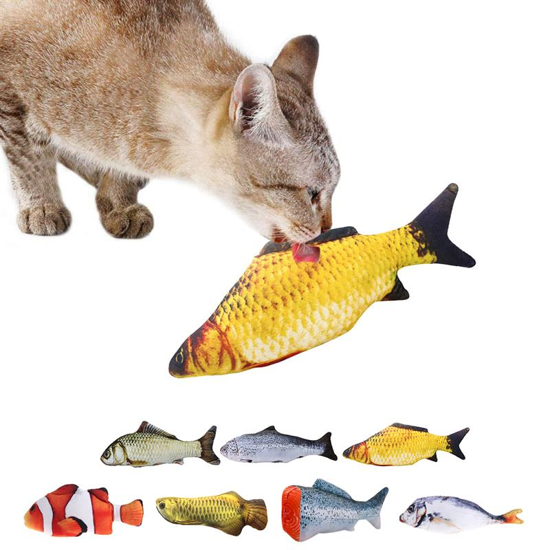 Pet Soft Plush 3D Fish Shape Cat Toy Interactive Gifts Fish Catnip Toys Stuffed Pillow Doll Simulati