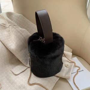 Bucket Bag Handbag Fashion Faux Fur Winter Bags Women Shoulder Crossbody Bag Ladies Plush Hand Bags Designers Bolsa Feminina Sac