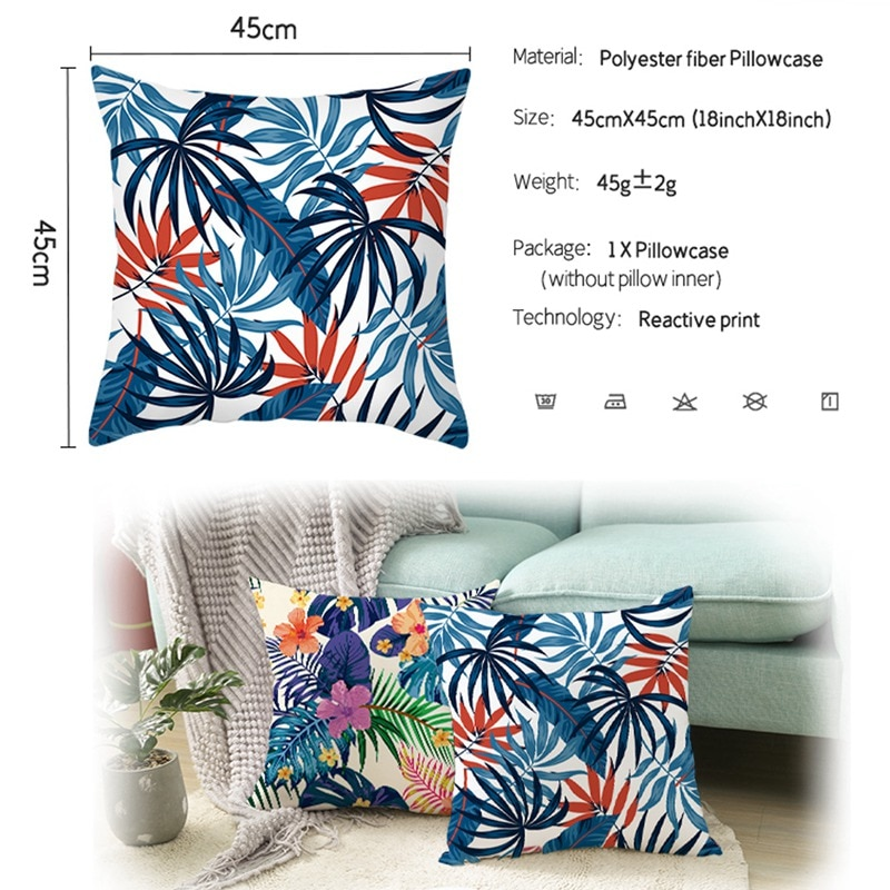 Summer Tropical Leaf Cushion Cover Monstera Flowers Printed Pillowcase Hawaii Party Decoration Tropical Hawaiian Birthday Favors  - buy with discount