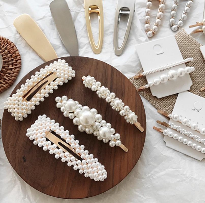 8 estilos coreanos de acrílico de imitación de perlas mujeres Barrettes elegante para mujer chica pinza de pelo accesorios para el cabello