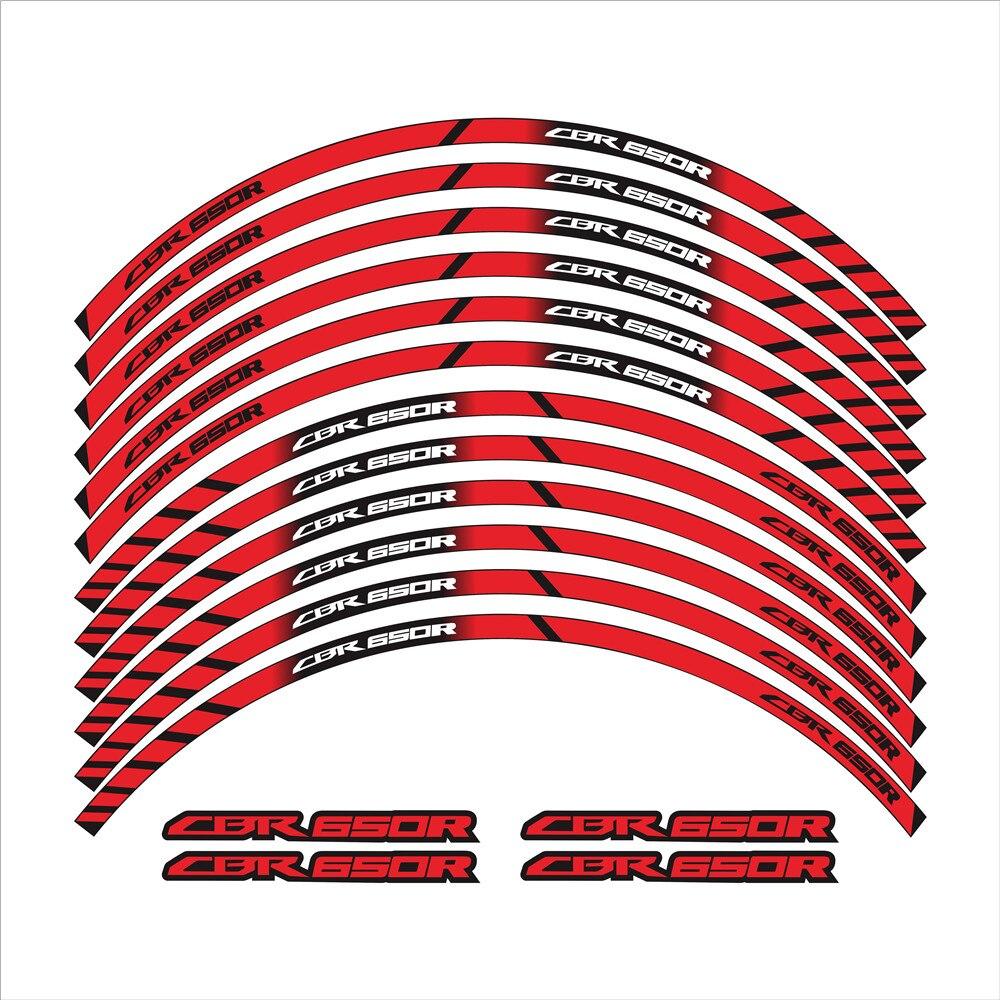 12 pçs roda da motocicleta adesivo refletivos borda adesivo decalque decorativo à prova dwaterproof água para honda cbr 650r cbr650r