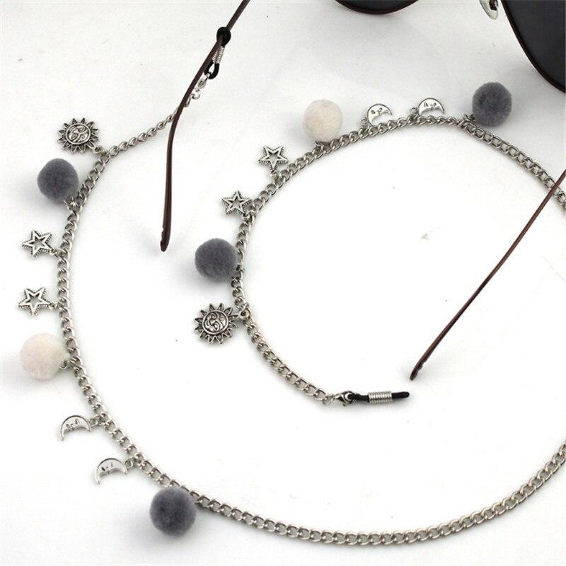 Gafas de sol de estrella con cuentas pompón gafas de sol cadena para gafas de lectura cordón titular correa de cuello cuerda