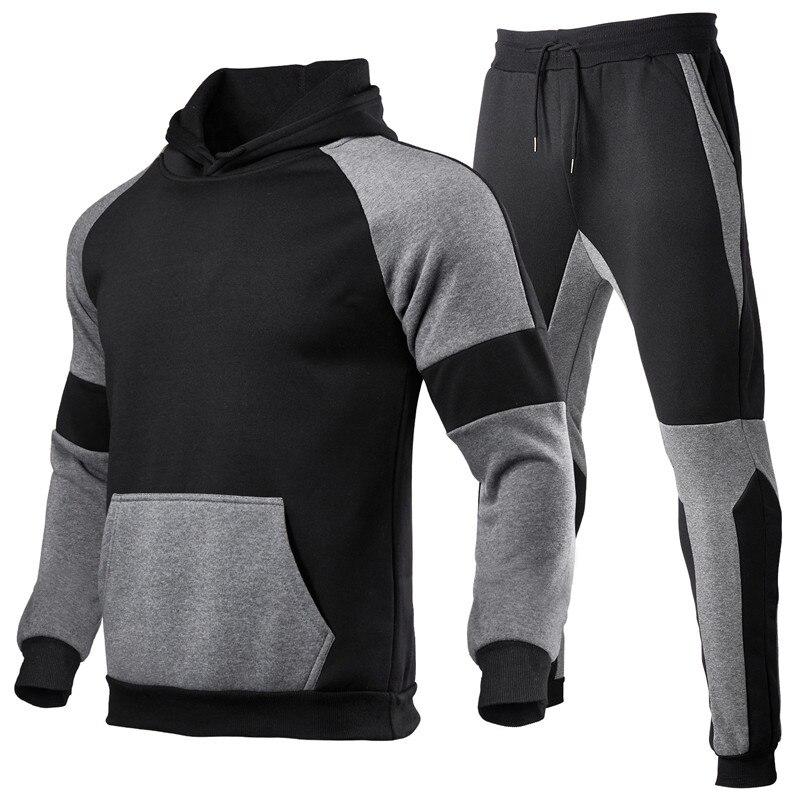 Мужская Спортивная толстовка с капюшоном, черная кофта с капюшоном и спортивные штаны, брендовый костюм для осени и зимы, 2019