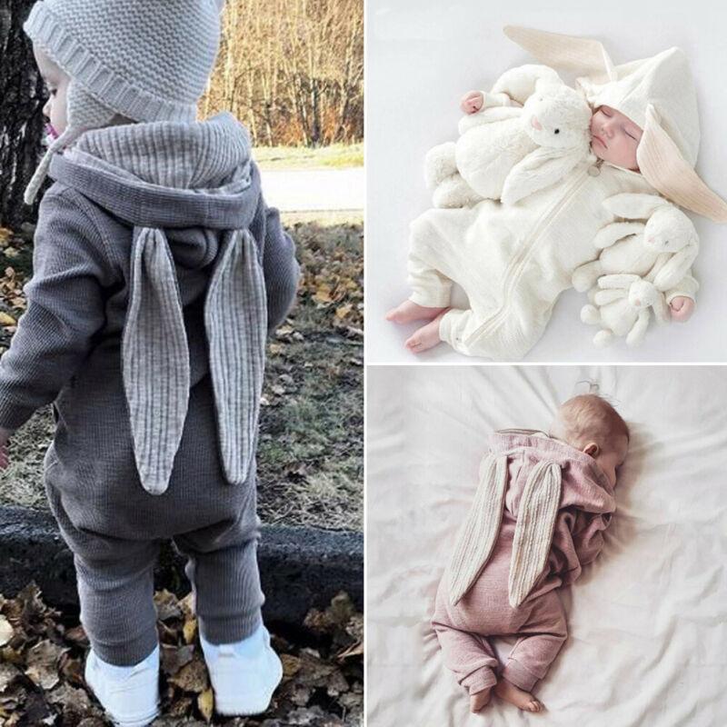 Recién Nacido bebé otoño mameluco niño niña Orejas de conejo un mono caliente cremallera con capucha cálido otoño invierno ropa 0- 24M