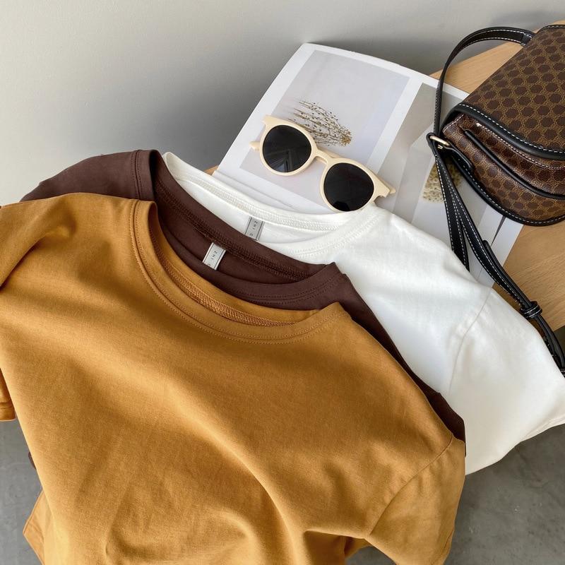 Mooirue primavera algodão feminino t camisa de manga curta marrom laranja simples básico t camisa topos