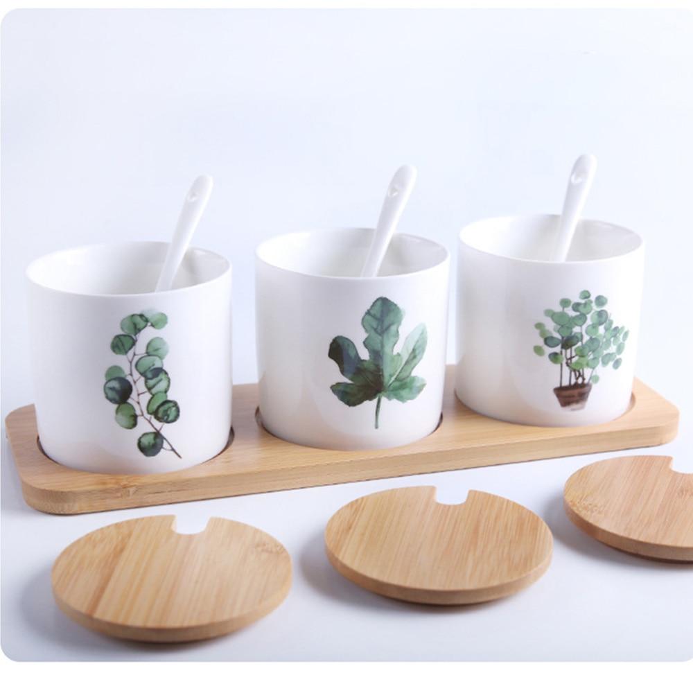 الإبداعية الشمال نمط النباتات الخضراء منقوشة السيراميك زجاجة توابل مجموعة ثلاث قطع بهار مجموعة جرة تخزين بهار تحتوي