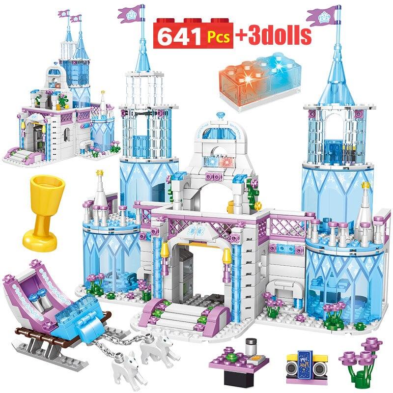 Castillo de princesas de ensueño 641 Uds., casa de princesas Anna, conjunto de Amigos de la ciudad Elsa Castillo de hielo Juguetes de bloques de construcción para niñas