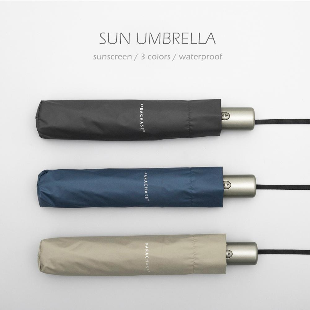 Parachase sol guarda-chuva automático chuva proteção uv guarda sol luz 6 costelas à prova de vento dobrável claro guarda-chuva golfe upf 50 +