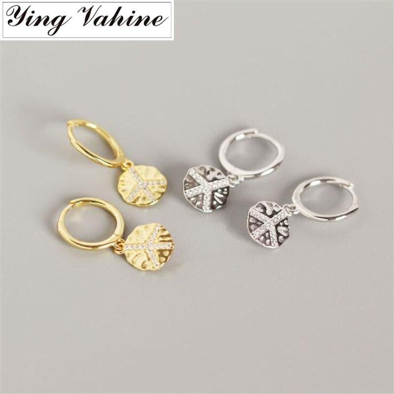Ying Vahine 100% Plata de Ley 925, Pendientes colgantes con símbolo de la paz para mujer