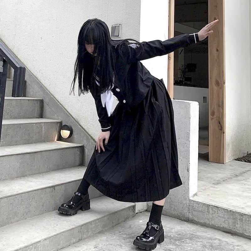 Gothic girl's sailor suits next era dark school bad girl jk uniform Preppy Style Kawaii cool girl sailor Japanese Harajuku sets