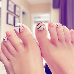 Unhas falsas quadradas 24 pçs/set, pés e curtos para unhas falsas no dedo do pé, design colorido, acabado, arte em unhas com cola