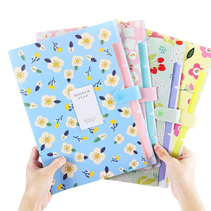Floral 6 into the student file cover clamp small and pure and fresh data folder organ office stationery paper bag folder multilayer student receive bag with small fresh organ folder data receive bag organ bag a4 test paper receive
