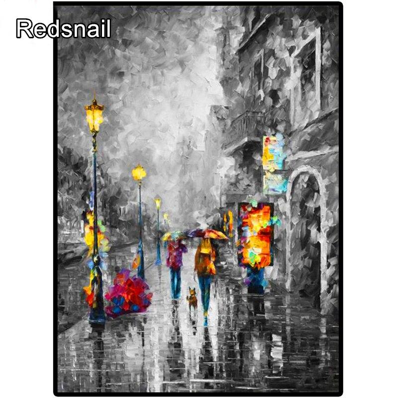 Diamant peinture ville nuit paysage strass 5D bricolage diamant broderie, point de croix, mosaïque réverbère art piétonnier TT729