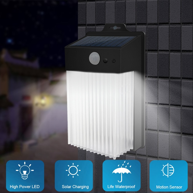 مصباح حائط Led مع مستشعر حركة ، مقاوم للماء حتى IP65 ، ضوء أبيض بارد ، مثالي للحديقة أو السياج.