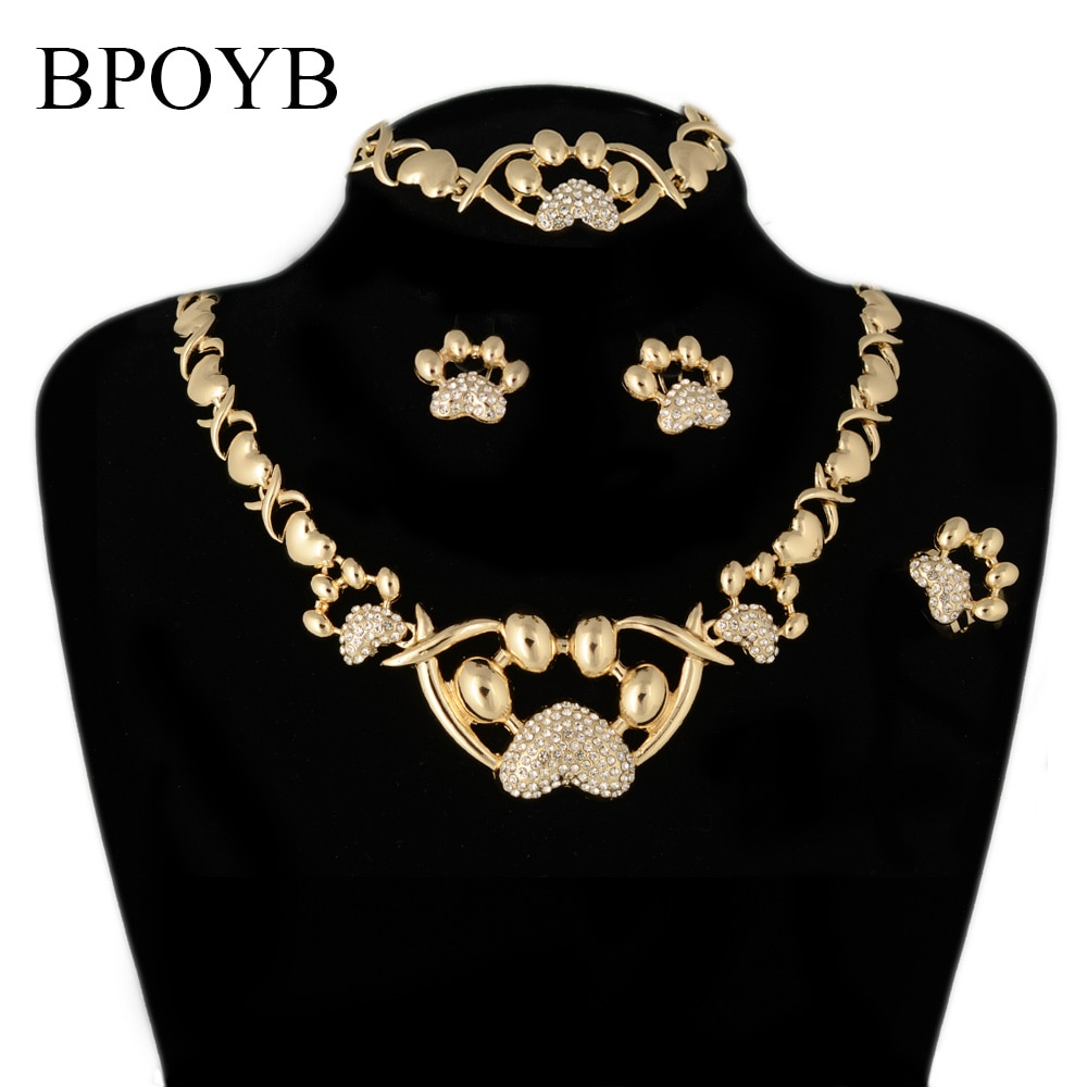 BPOYB-طقم مجوهرات مخالب قطة برازيلية ، لون ذهبي ، مجموعة عقد Xoxo للنساء والفتيات