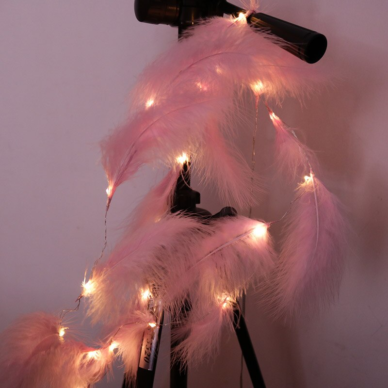 pendant feather lamp romantic dreamlike feather droplight bedroom living room parlor hanging lamp e27 warm light Christmas Led Strip Light Feather String Light Fairy Curtain Light Copper Wire for Bedroom Living Room Romantic Decoration Lamp
