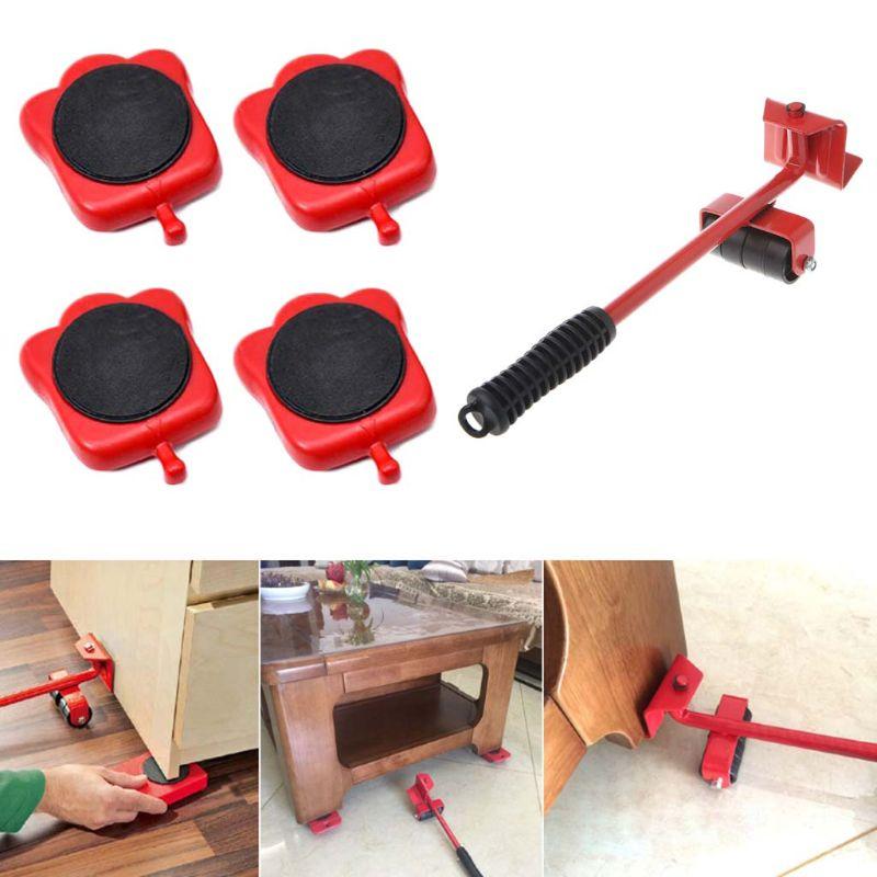 Furniture Mover Tool Transport Lifter Heavy Stuffs Moving Wheeled Roller Bar Set enlarge