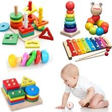 Crianças Brinquedos De Madeira Montessori Rainbow Blocos Kid Aprendizagem Brinquedo da Música Do Bebê Chocalhos Gráfico Colorido Brinquedo De Blocos de Madeira Educacionais