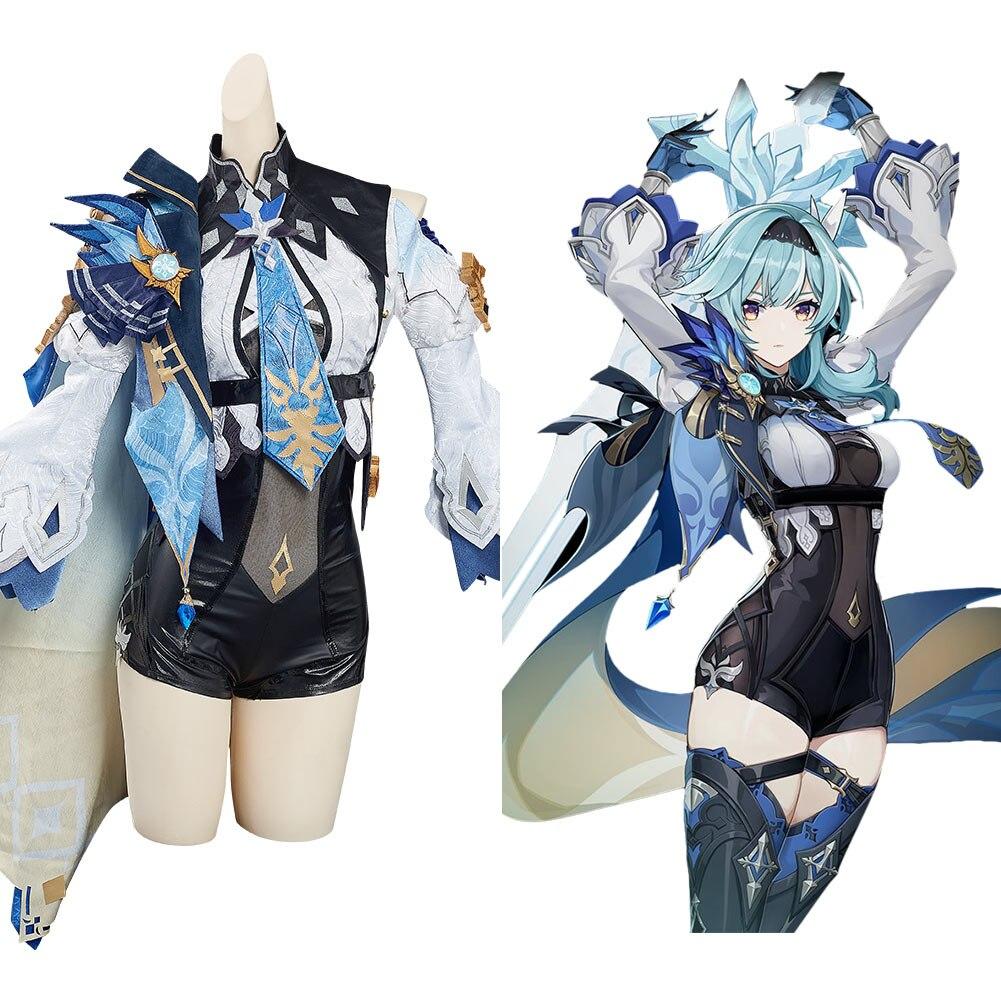 لعبة Genshin تأثير Eula تأثيري حلي ملابس هالوين كرنفال البدلة