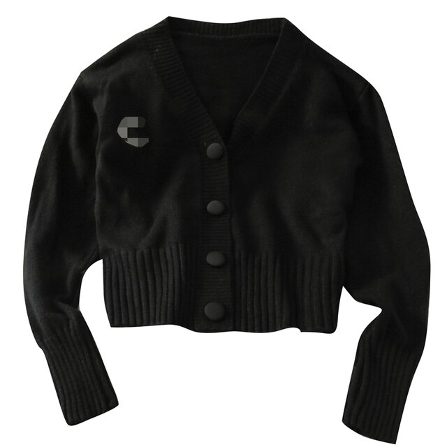 Korean version of the V-neck solid color knitted cardigan women's wild slim slimming long-sleeved single-breasted top 8