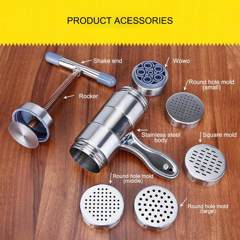 Fabricación de utensilios de cocina de espagueti Máquina Manual de fideos prensa de Pasta máquina de manivela exprimidor de frutas utensilios de cocina con 5 moldes de prensado