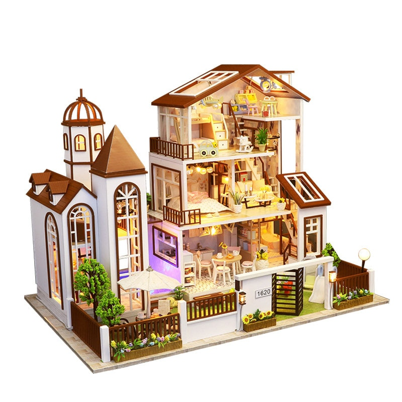 Duplex jardín Villa Dollhouse miniatura cocina muebles dormitorio luces Kit montaje 3D rompecabezas de madera modelo de juguete regalo de Navidad