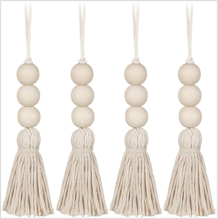 4pcs Natural Wood Beads Creative Beaded Curtain Straps Home Decoration Garland Handmade Custom Home Decoration