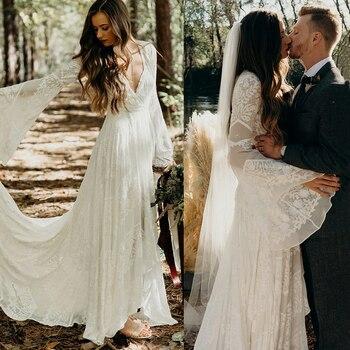 Garden Long Bell Sleeves V Neck Bridal Gowns High Split Rustic Beach Chapel Train Big Sizes Appliqued A Line Wedding Dresses