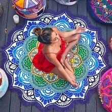 Round Yoga Beach Towel Tassel Toalla Mandala Tapestry Sunblock Round Cover-Up Bath Towel Blanket Lotus Bohemian Yoga Mat 150cm