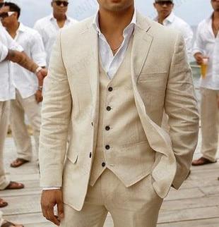 2020 بدلة الرجال الكتان البيج شاطئ بدل زفاف للرجال عادية رجل السترة مخصص العريس سهرة سترة فستان أطفال مع سروال داخلي رجالي الدعاوى 3 قطع