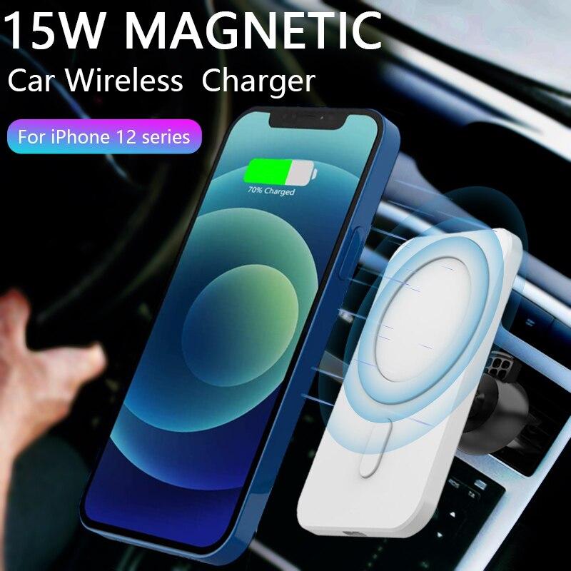 المغناطيسي شاحن سيارة لاسلكي جبل آيفون 12 برو ماكس ميني ل Magsafing 15 واط شحن سريع الهواء تنفيس حامل هاتف حامل