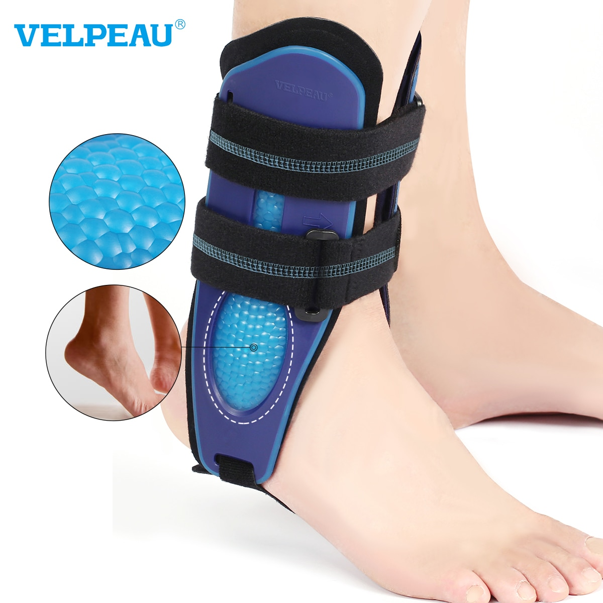 VELPEAU Ankle Support Brace Ankle Brace Stabilizer Stirrup Splint for Sprains Can be Worn in Shoe fo