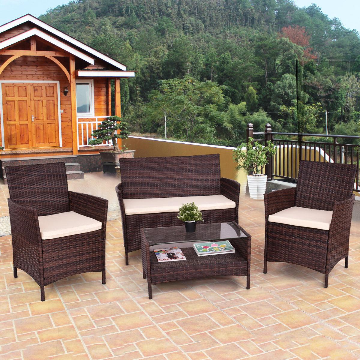 4PCS Outdoor Patio PE Rattan Wicker Table Shelf Sofa Furniture Set With Cushion HW63214
