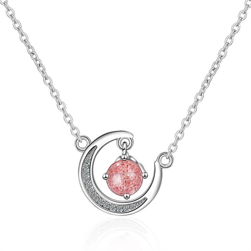 Dulce Luna colgante, collar de mujer encantadora Rosa gris piedra Natural Cadena de clavícula de moda regalo para niñas, joyería