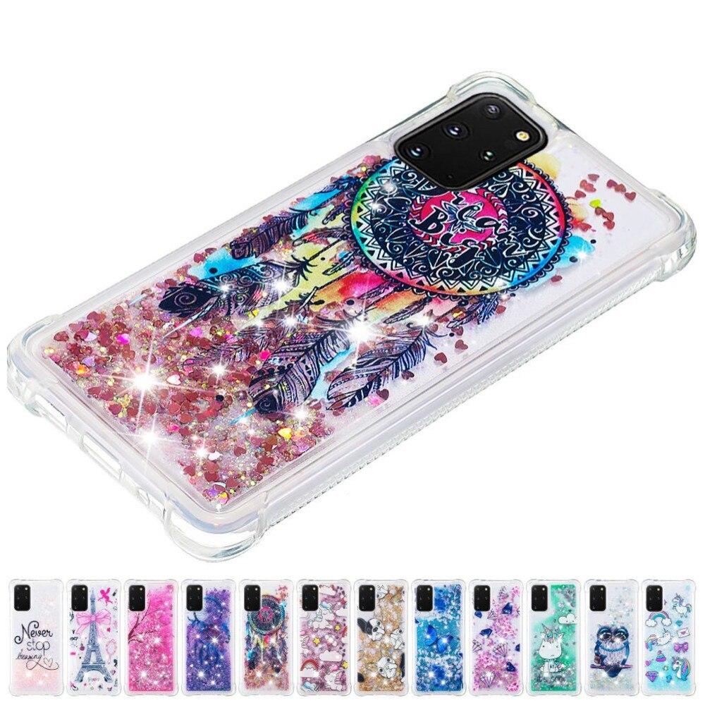 Cute Glitter Girl Lady Quicksand Phone Case For Samsung Galaxy A51 A71 A10 A20 E A10E A20E Sparkles Anti-fall Liquid Cover D03E