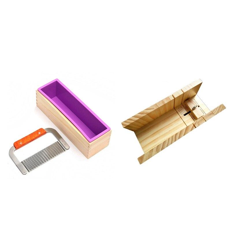 1 Uds rectángulo jabón molde con caja de madera de acero cortador de jabón cuboide moldes para hacer jabones artesanales haciendo y 1 Uds a mano hecho a mano Diy jabón de corte a