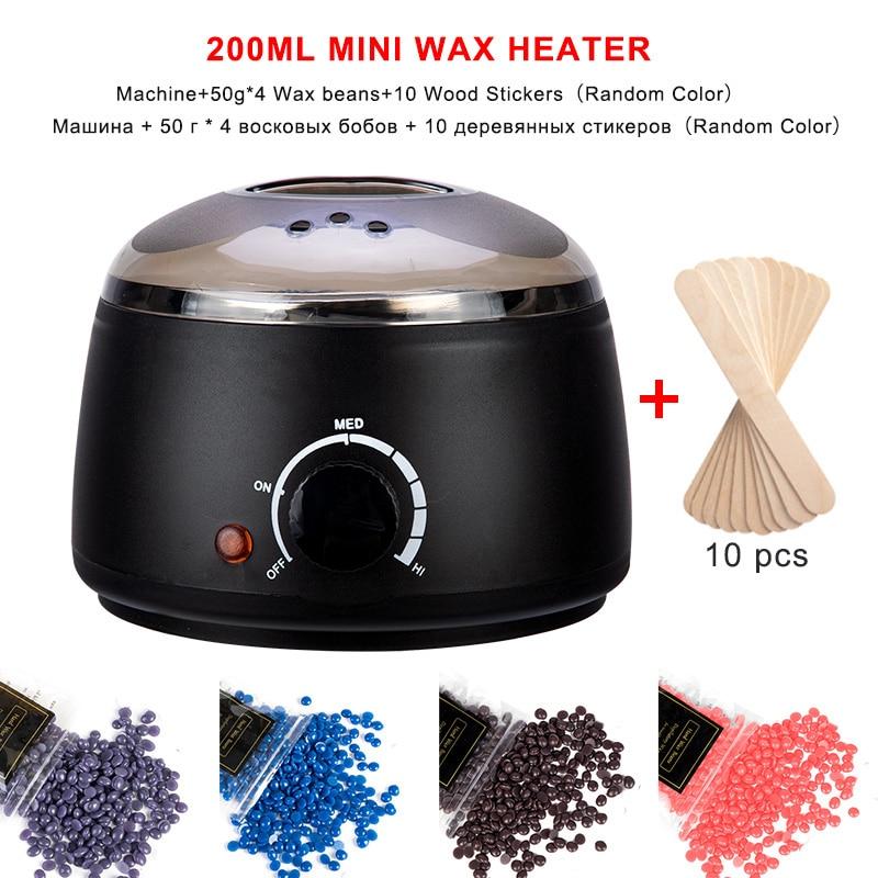 Hair Removal Wax-melt Machine Heater 200ml Wax Beans 10 Wood Stickers Hair Removal Machine Waxing Kit Calentador de cera