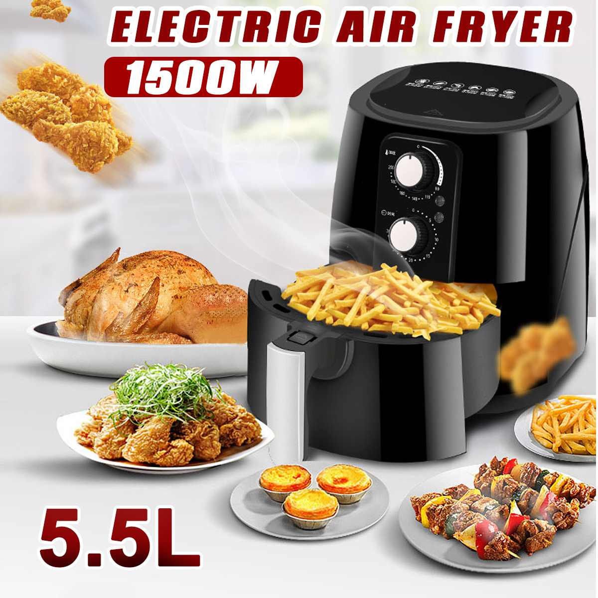 5.5L 1500W 220V Multifunction Air Fryer Oil free Health Fryer Cooker Smart Touch LCD Deep Airfryer Pizza Fryer for French fries