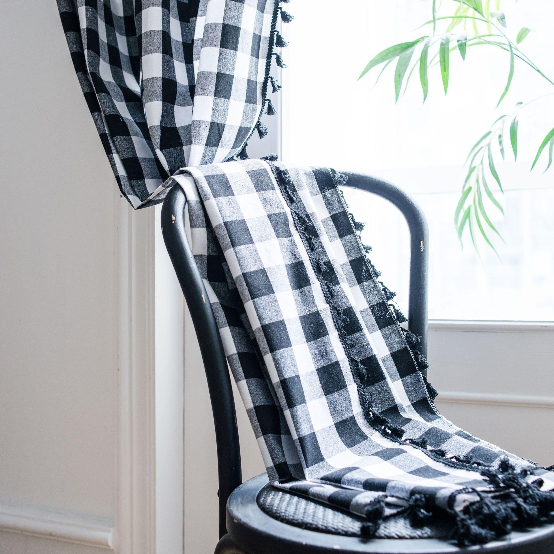 ستائر نافذة علاج أسود أبيض منقوشة شرابة القطن الكتان شبه التظليل مخطط الجاكار الستائر الشرفة المنسوجات المنزلية