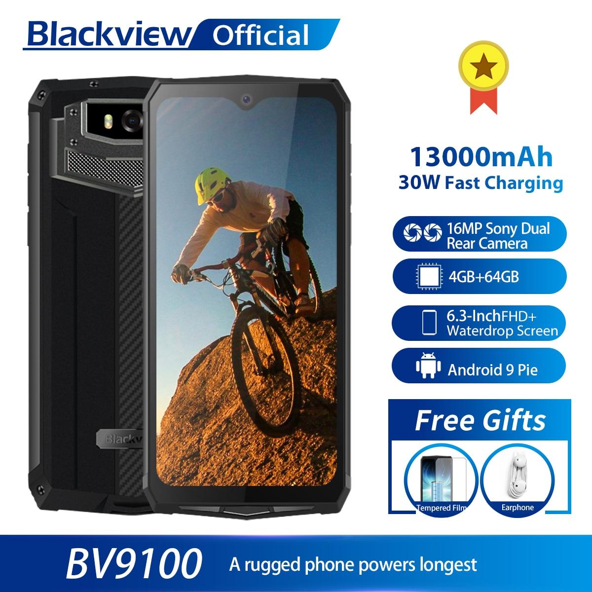 Смартфон Blackview BV9100, 13000 мАч, водонепроницаемый, прочный, Helio P35, 4 Гб + 64 ГБ, Android 9,0, мобильный телефон, быстрая зарядка 30 Вт