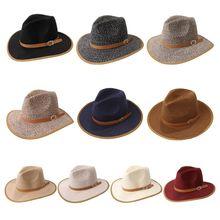 Women Men British Style Fedora Panama Sun Hat with Faux Leather Belt Contrast Color Wide Brim Sunscreen Vintage Beach Cone Bucke