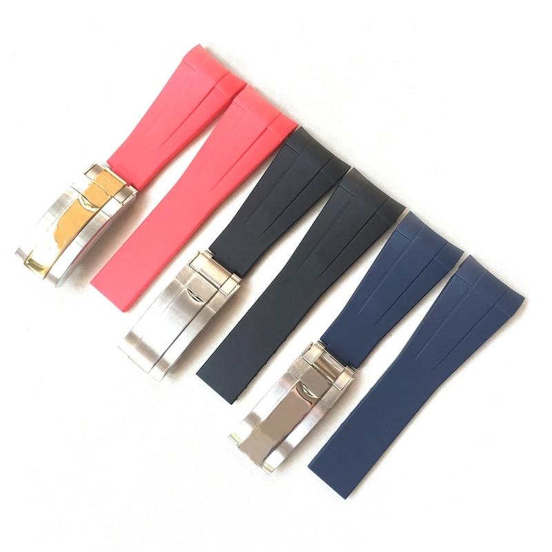 22mm Black Blue Red Curved End Soft Silicone Rubber Watchband For RX D-Blue 126660 Sea-Dweller Bracelet Dweller Watch Strap