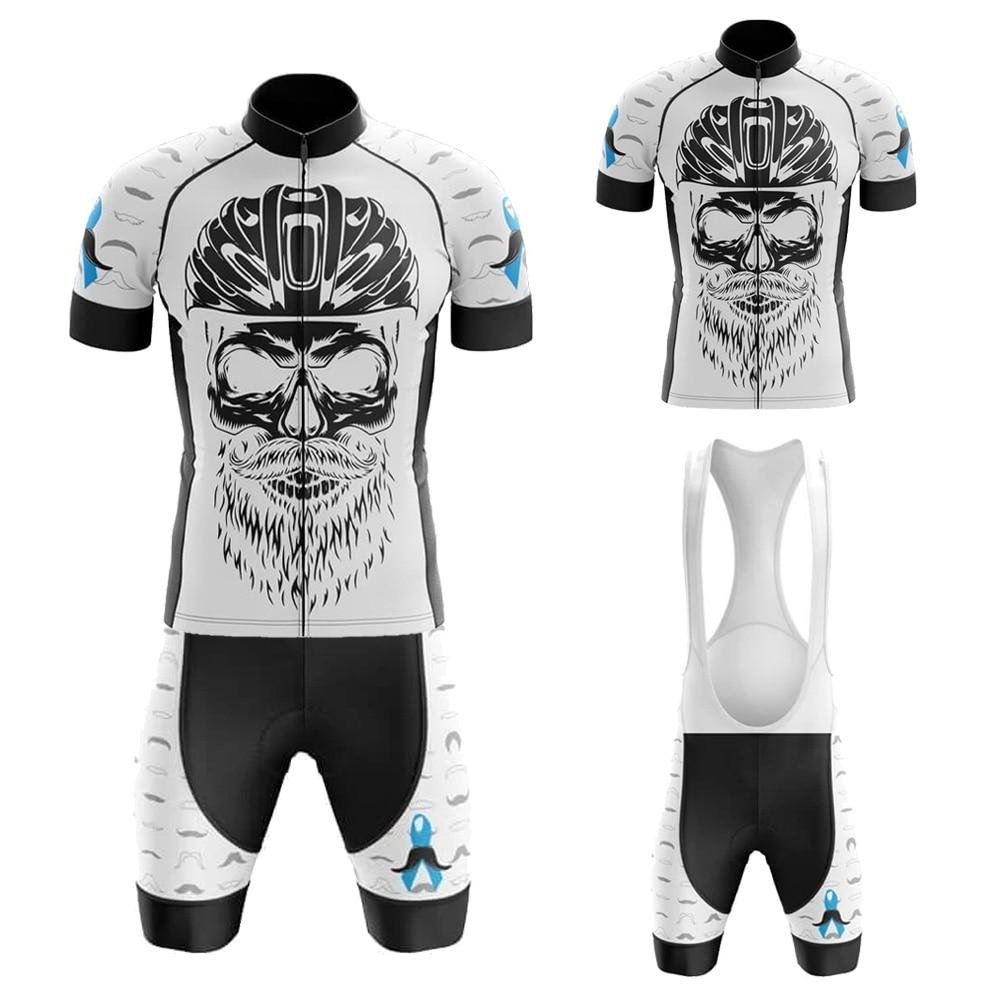 Movember Blanco/Negro Maillot Ciclismo Hombre peto y camiseta De Ciclismo corto Gel...