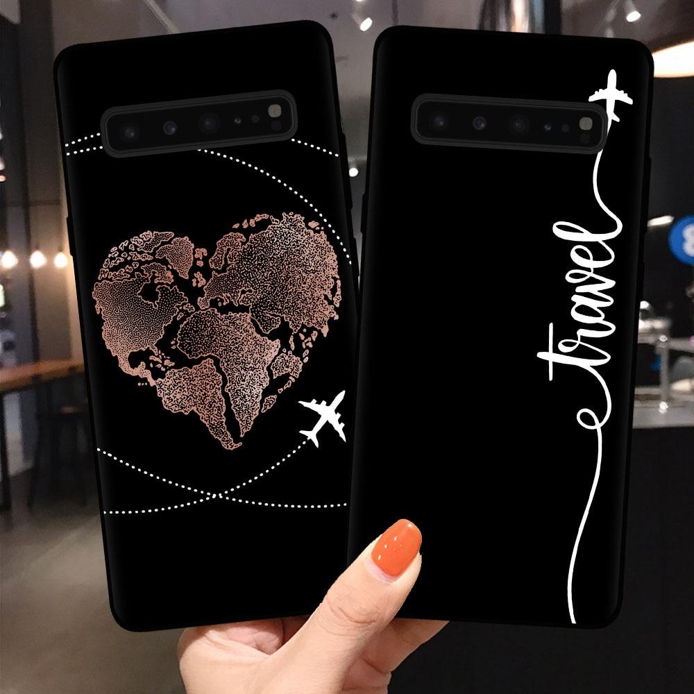 Caja del teléfono para Samsung S6 S7 borde S8 S9 S10 S11 Plus Lite de S11E S10E 10 Pro cubierta Coque mundo mapa viaje a casos de silicona