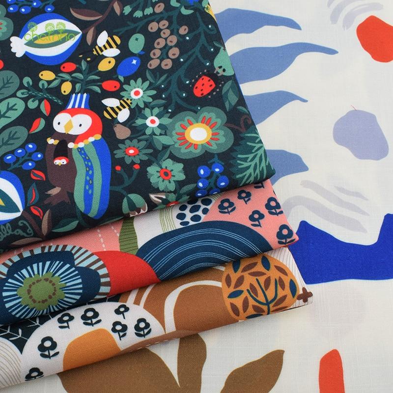 Serie de dibujos animados Parrot, tela de lino de algodón impresa para DIY acolchado y costura para sofá, mantel, cortina, bolsa, Material de cojín