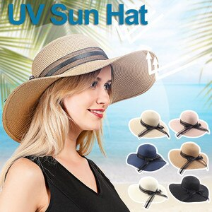 Womens Sun Straw Hat Summer Bucket Hat Foldable Roll Up Floppy Beach Hats UV UPF50 Caps All-match Dress BowKnot Sunscreen Cap L*