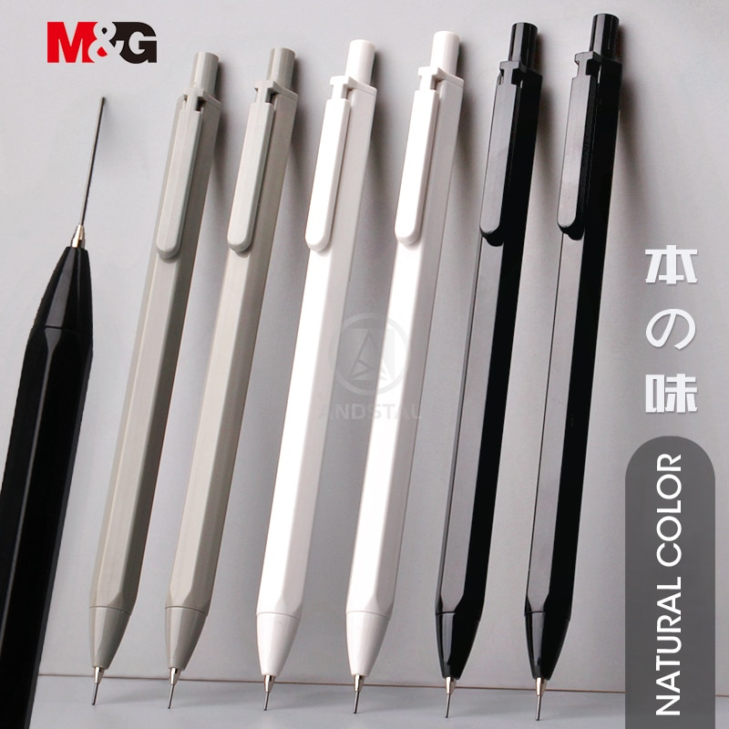 simple black pencil student school pen environmental plastic shell hb pencil learning office stationery supplies M&G 3pcs/lot Simple Hexagon Mechanical Pencil 0.5mm HB Automatic Pencil Stationery Auto Pencils For School Office Supplies