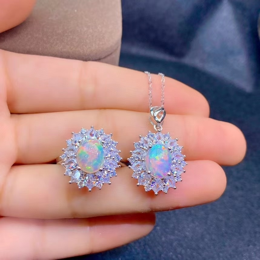 KJJEAXCMY Fine Jewelry 925 Sterling Silver Inlaid Natural Opal New Popular Gemstone Pendant Ring Girl Suit Support Test