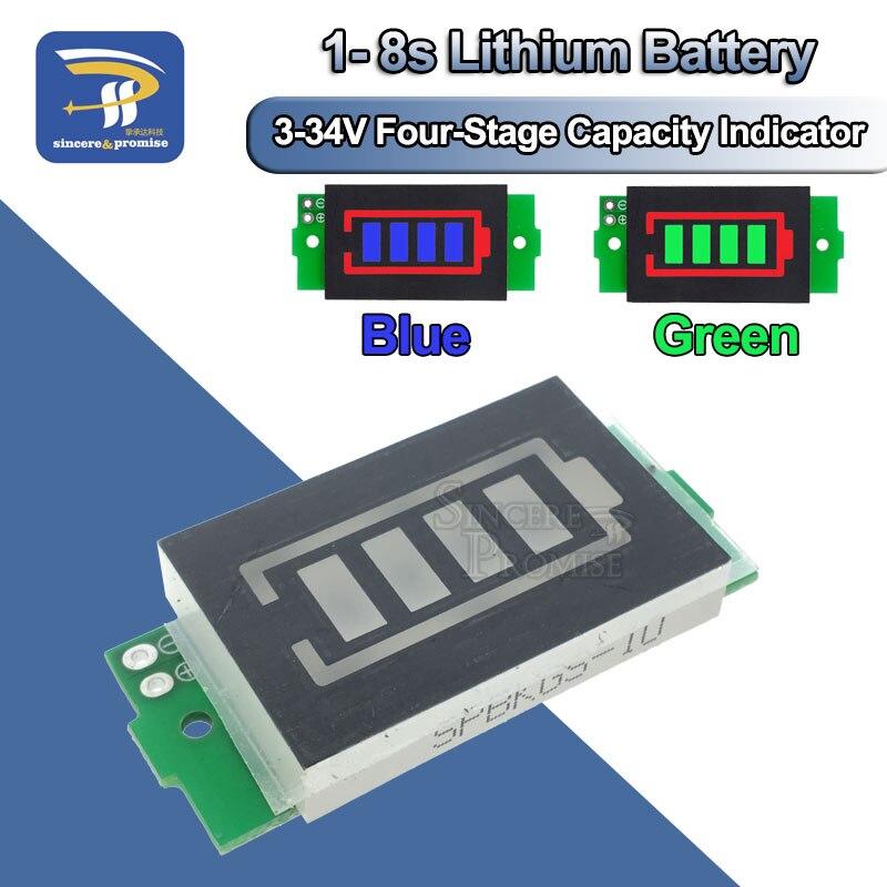 1 S, 2 S, 3 S, 4S, 6 S, 7 S, 8 S, серия литиевых аккумуляторов, индикаторный модуль, дисплей, тестер заряда батареи для электромобиля, Li-po, Li-ion