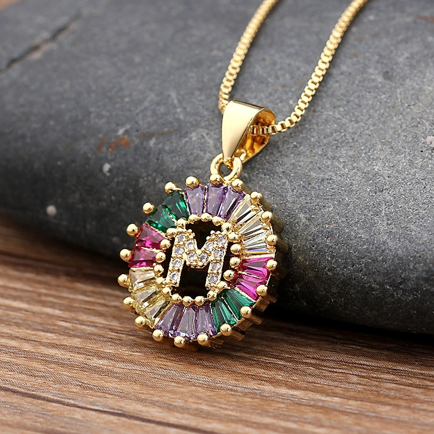 26pcs/Lot A-Z Hot Sale Gold Color Initial Copper CZ Necklace Charm Letter Necklace Name Jewelry For Women Girls Best Party Gift